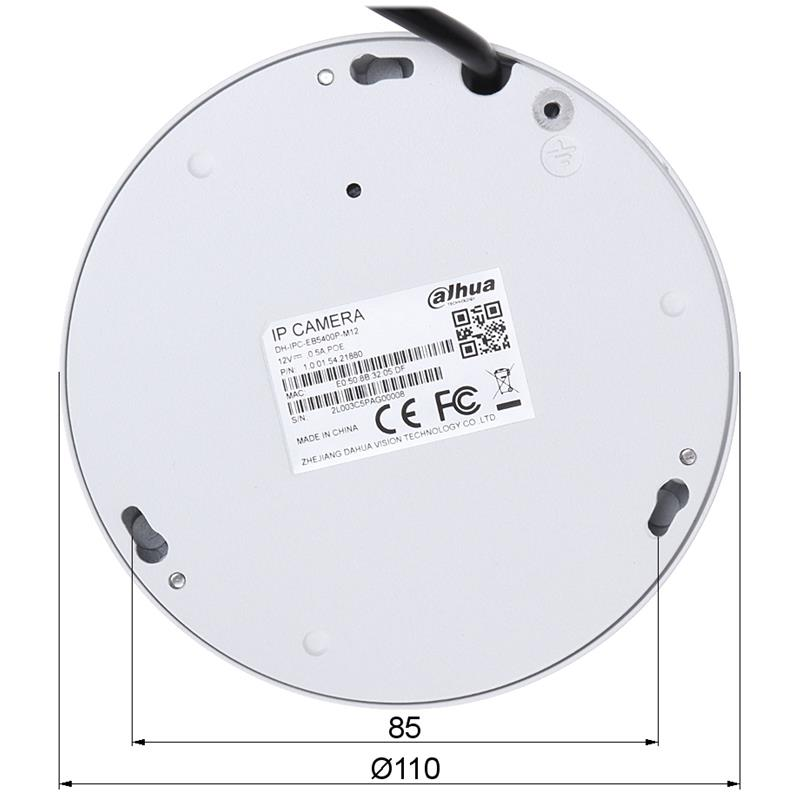 VANDALOODPORNA KAMERA IP IPC-EB5400-M12 - 4.0 Mpx 1.18 mm - Fish Eye DAHUA